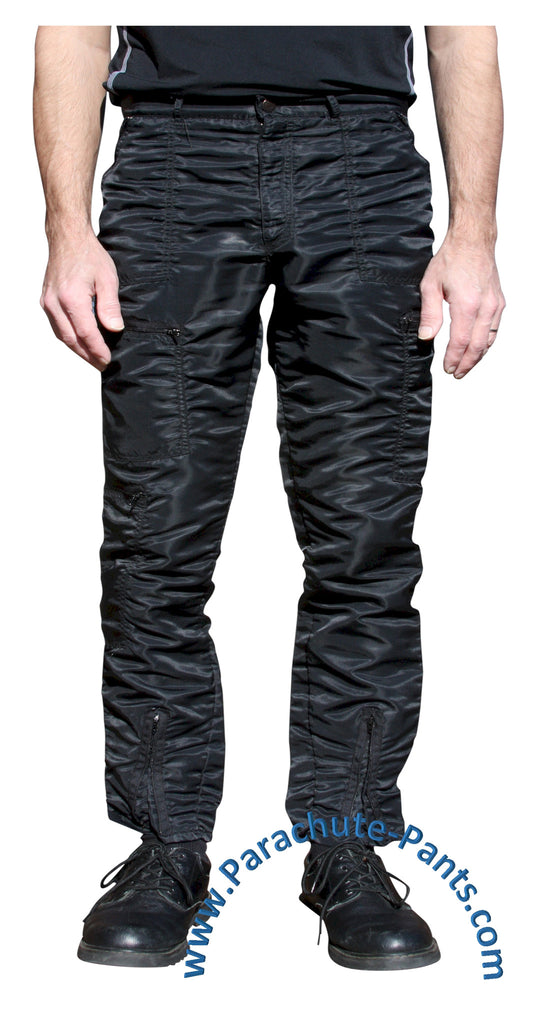 Bugle Boy Black Vintage Nylon Parachute Pants with Black Zippers
