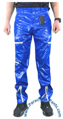 Countdown Blue Shiny Nylon Parachute Pants with Grey Zippers