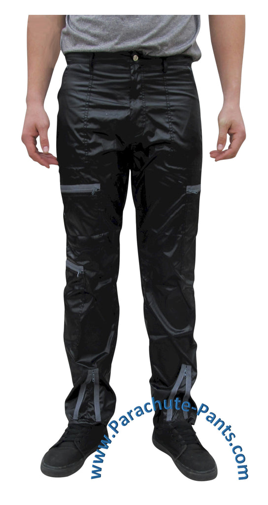 Countdown Black Shiny Nylon Parachute Pants with Grey Zippers