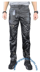 Countdown Black Shiny Nylon Parachute Pants with Steel Zippers