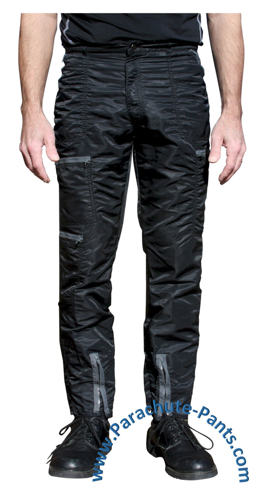 Bugle Boy Black Vintage Nylon Parachute Pants with Grey Zippers