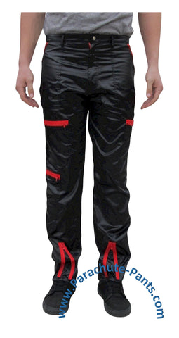 Countdown Black Shiny Nylon Parachute Pants with Red Zippers