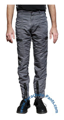 Bugle Boy Grey Vintage Nylon Parachute Pants with Black Zippers