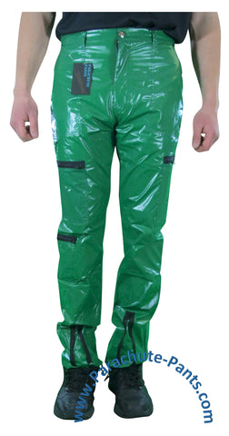 Countdown Green Shiny Nylon/Plastic Parachute Pants