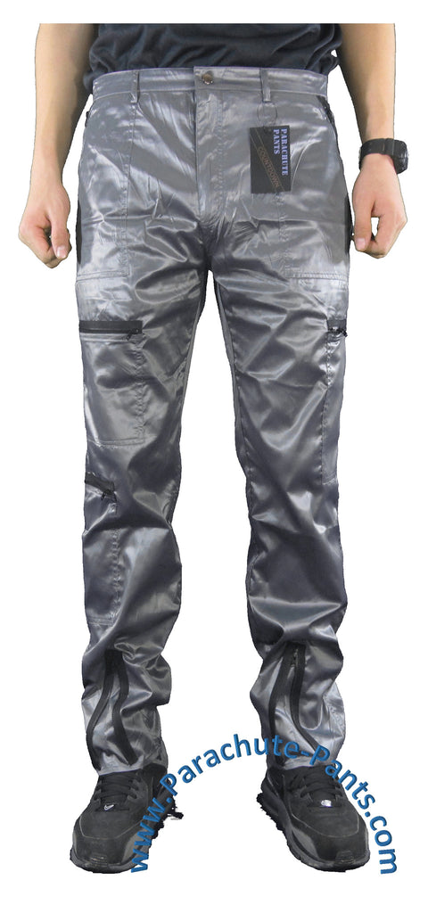 Countdown Grey Shiny Nylon Parachute Pants with Black Zippers