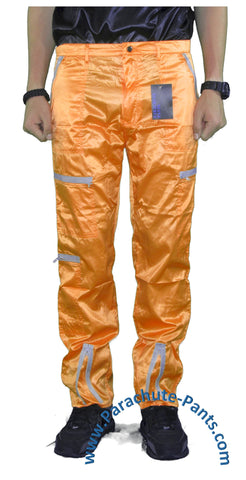 Countdown Orange Shiny Nylon Parachute Pants with Grey Zippers