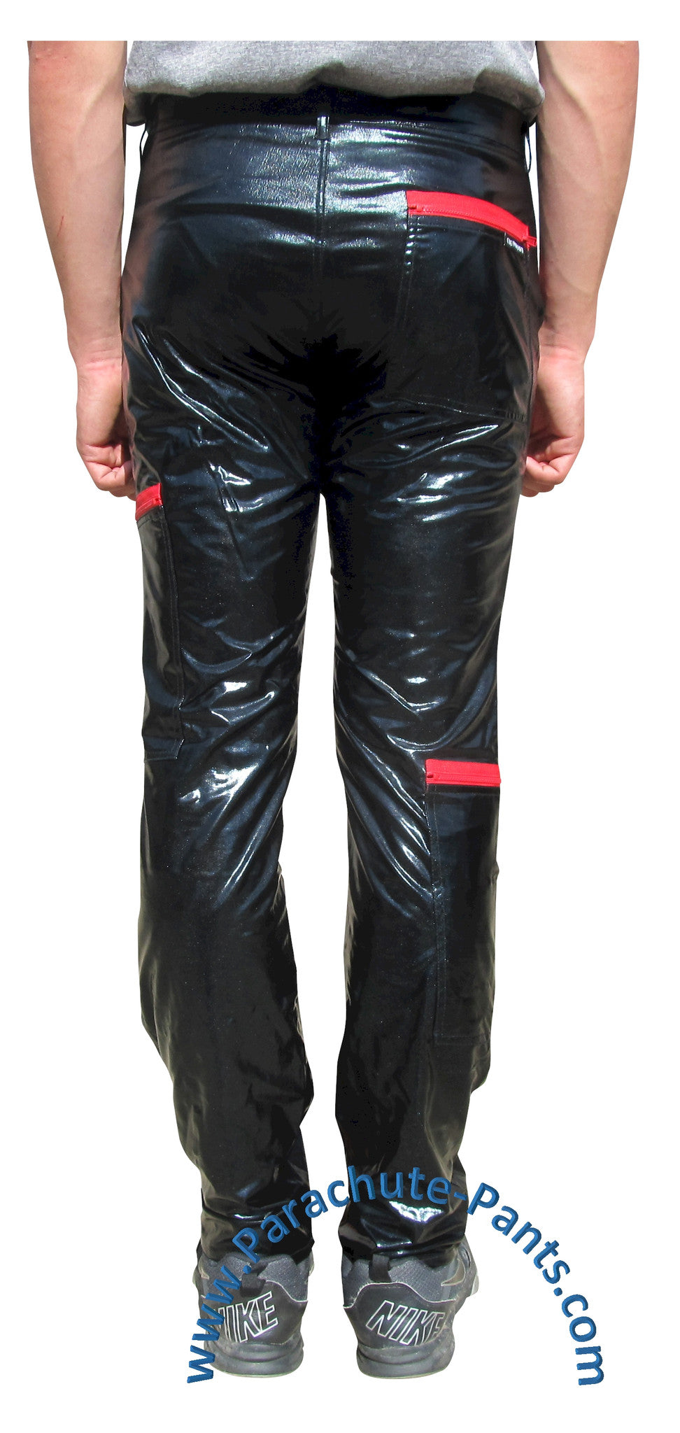 countdown black pvc parachute pants with red zippers the parachute