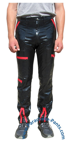 Countdown Black PVC Parachute Pants with Red Zippers