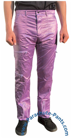 Countdown Purple Shiny Nylon Parachute Pants with Purple Zippers