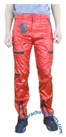 Countdown Red Shiny Nylon Parachute Pants with Black Zippers