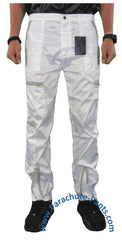 Countdown White Shiny Nylon Parachute Pants with Grey Zippers