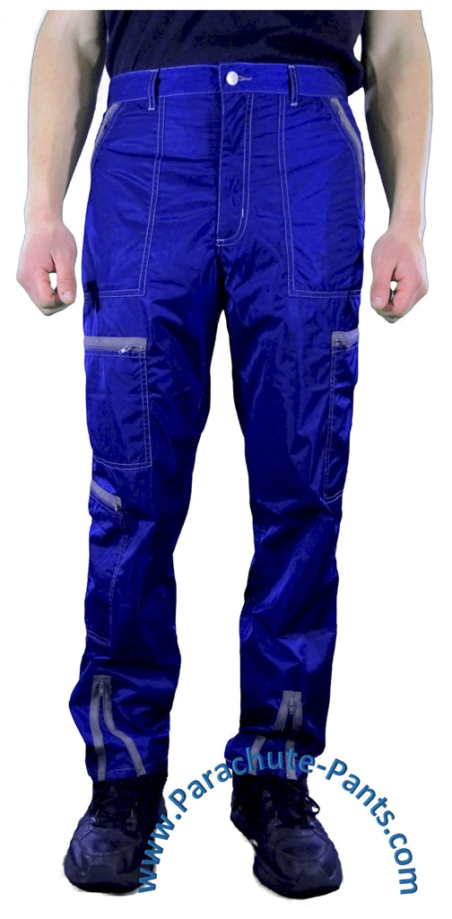 Hammer Time Blue Nylon Parachute Pants with Black Zippers