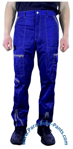 Hammer Time Blue Nylon Parachute Pants with Grey Zippers