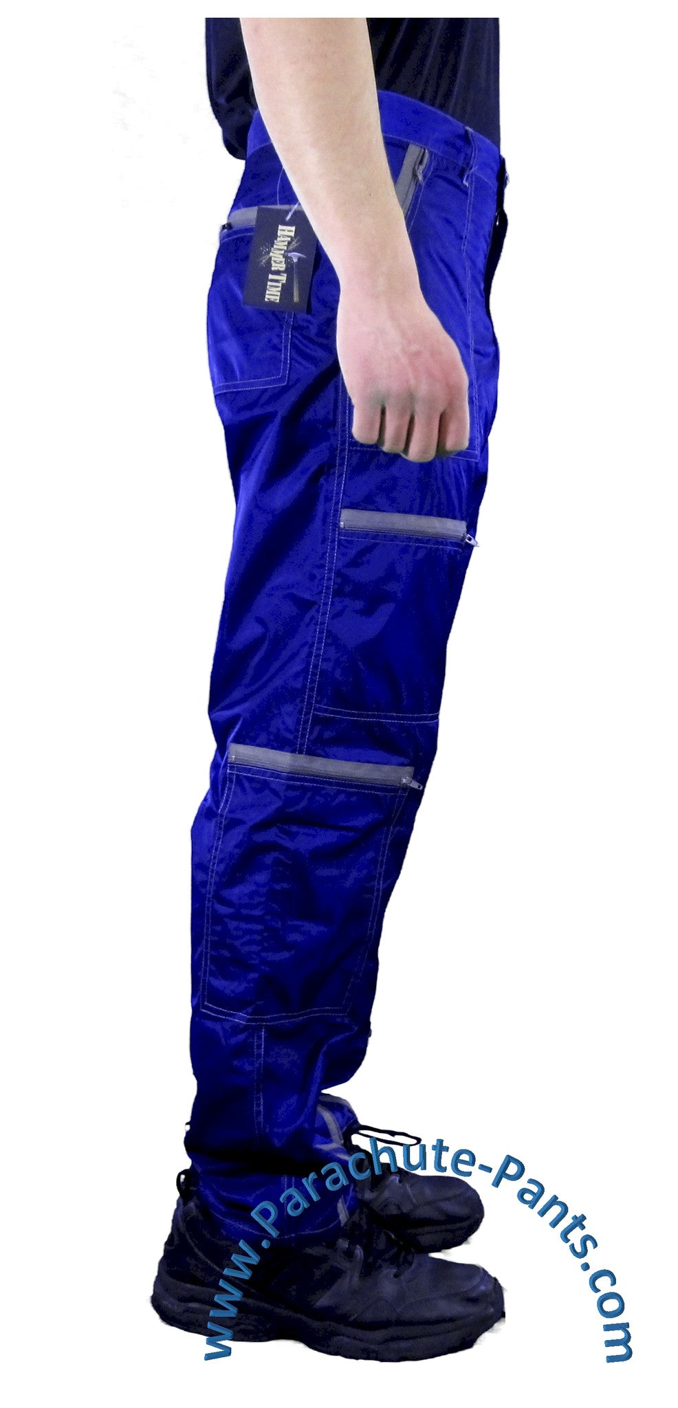 hammer time blue nylon parachute pants with grey zippers the