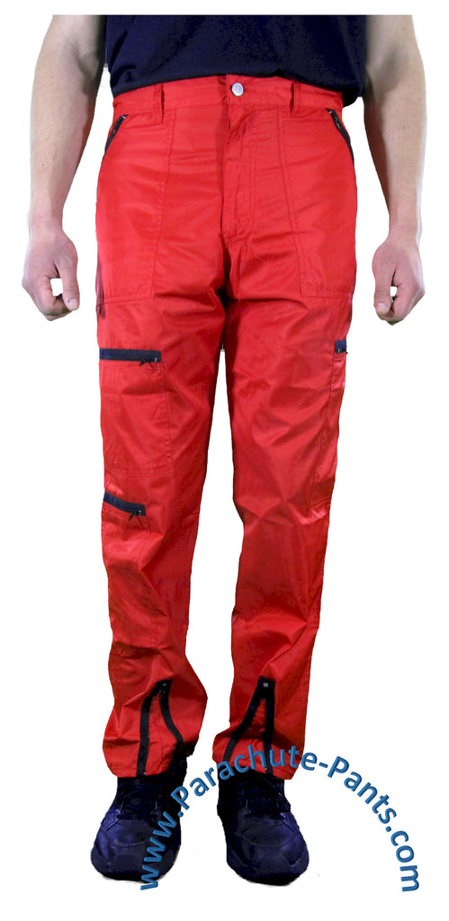 Hammer Time Red Nylon Parachute Pants with Black Zippers