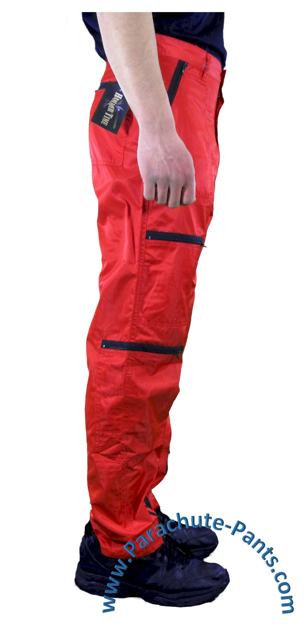 hammer time red nylon parachute pants with black zippers the