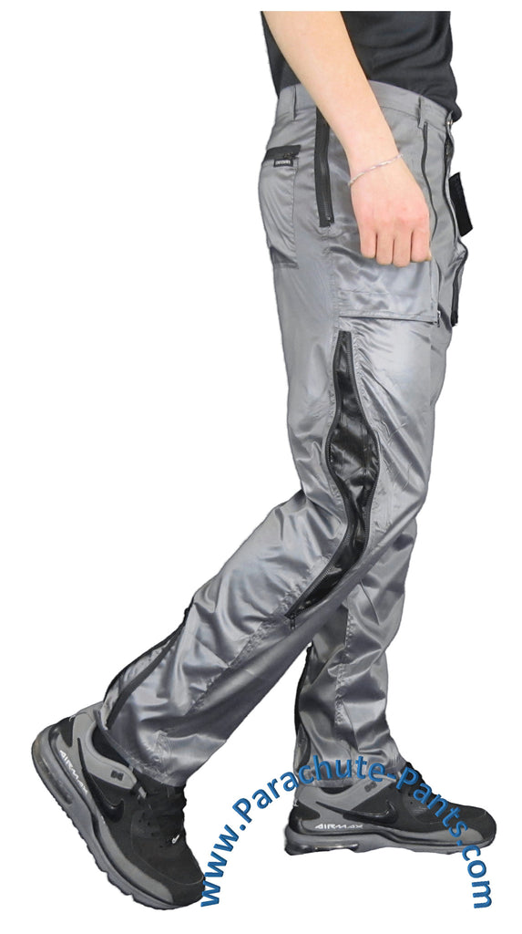 Countdown Grey Shiny Nylon Parachute Pants w/ Long Black Zippers