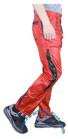 Countdown Red Shiny Nylon Parachute Pants w/ Long Black Zippers