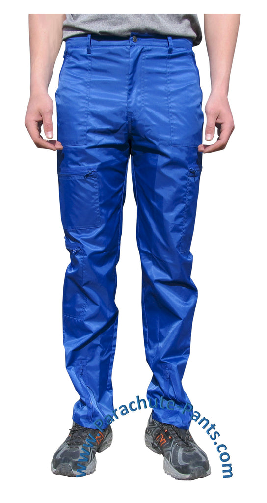 Countdown Blue Classic Nylon Parachute Pants with Blue Zippers