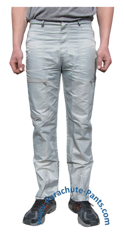 Countdown Grey Classic Nylon Parachute Pants with Grey Zippers