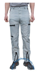Countdown Grey Classic Nylon Parachute Pants with Black Zippers