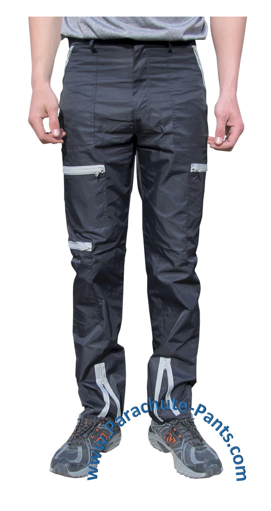 Countdown Black Classic Nylon Parachute Pants with Grey Zippers