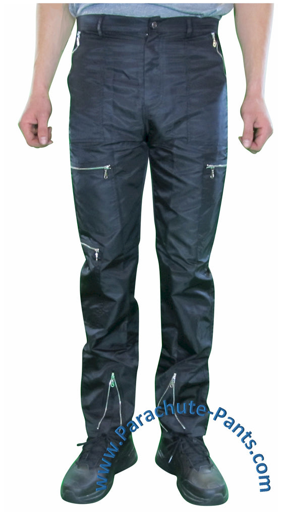 Countdown Black Classic Nylon Parachute Pants with Steel Zippers
