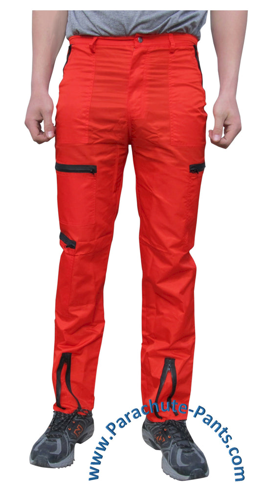 Countdown Red Classic Nylon Parachute Pants with Black Zippers