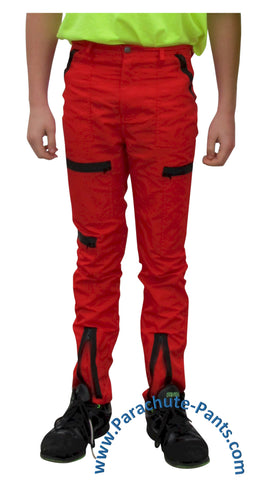 Countdown Red Classic Childrens Nylon Parachute Pants with Black Zippers