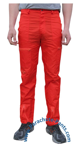 Countdown Red Classic Nylon Parachute Pants with Red Zippers
