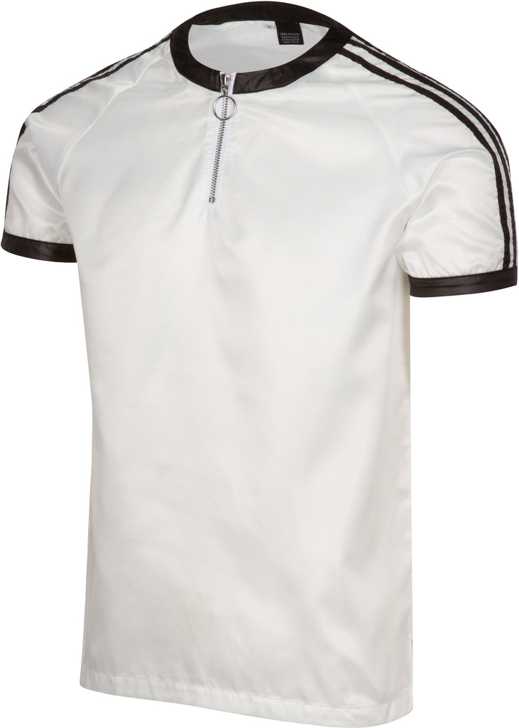 Bruno White 3-Stripe Nylon T-Shirt