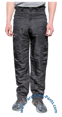 Panno D'Or Black Nylon Parachute Pants with Black Zippers