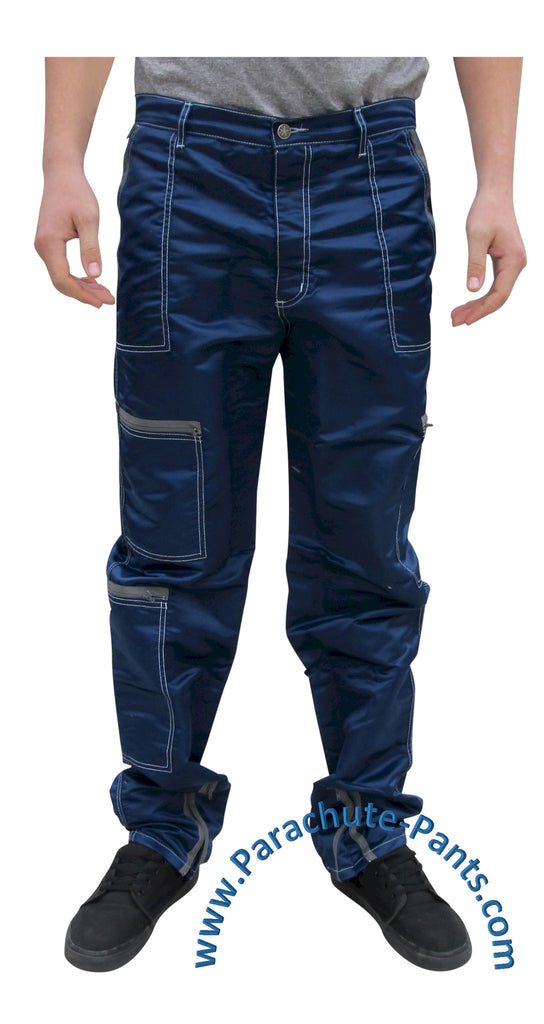 Panno D'Or Dark Blue Nylon Parachute Pants with Grey Zippers