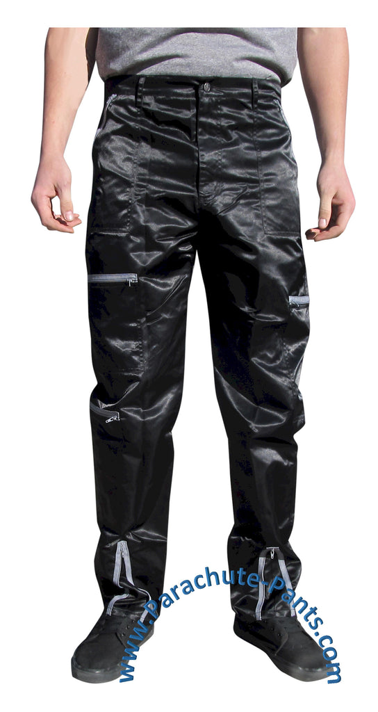 Panno D'Or Black Nylon Parachute Pants with Grey Zippers