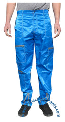 Panno D'Or Blue Nylon Parachute Pants with Grey Zippers