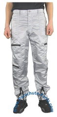 Panno D'Or Grey Nylon Parachute Pants with Black Zippers