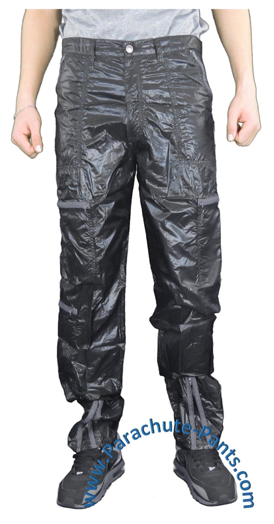 Panno D'Or Black Thin Nylon Parachute Pants with Grey Zippers