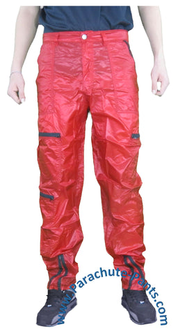 Panno D'Or Red Thin Nylon Parachute Pants with Black Zippers