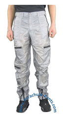 Panno D'Or Silver Thin Nylon Parachute Pants with Black Zippers