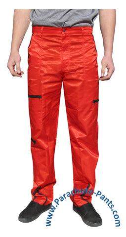 Panno D'Or Red Nylon Parachute Pants with Black Zippers