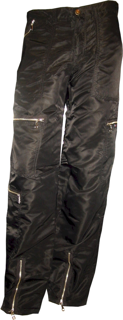 Panno D'Or Black Nylon Parachute Pants with Steel Zippers