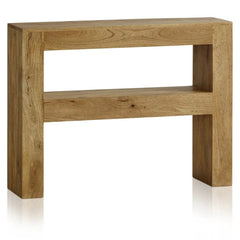 Mana 100% Solid Mango Wood Slim Console Table With Lower Shelf | CONSOLE TABLES UK