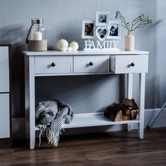 Becca Shabby Chic Console Table - 3 Drawer - White