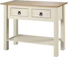 Abbey Mexican Style Cream Wooden Console Table With 2 Drawers & 1 Lower Shelf | CONSOLE TABLES UK
