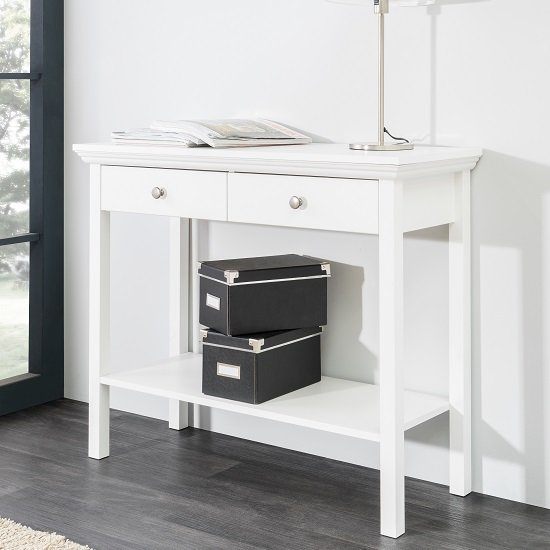 Scala Console Table  - 2 Drawer - White