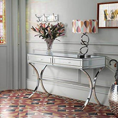 Aura Mirrored & Chromed Console Table 2 Drawer | BUY FROM CONSOLE TABLES UK | FREE DELIVERY UK MAINLAND