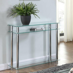Carillo Clear Glass Console Table 3 Tier Clear Glass & Chrome | BUY FROM CONSOLE TABLES UK | FREE DELIVERY UK MAINLAND
