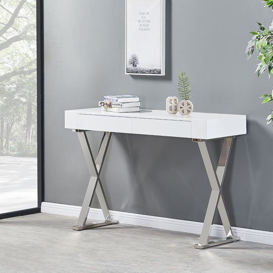 Lela Console Table In White High Gloss