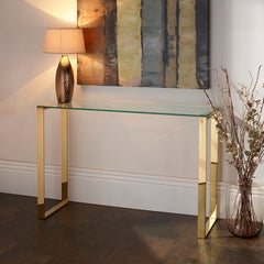 Kohen Console Table In Clear Glass With Gold Legs
