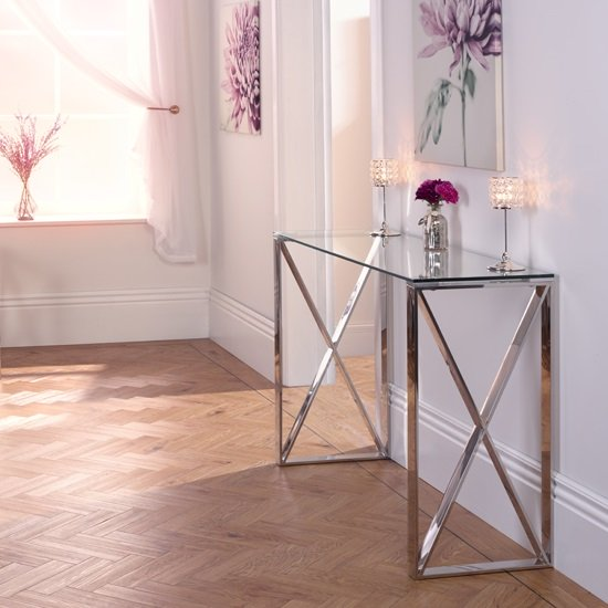 Swenson Glass Console Table With Polished Stainless Steel Legs